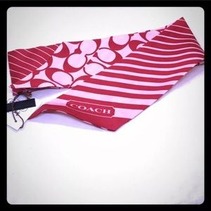 Nwt Coach red signature ponytail silk scarf